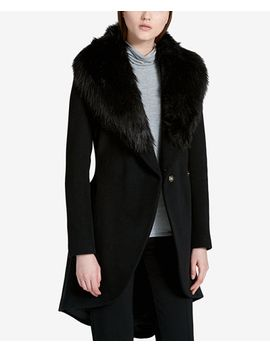 faux-fur-trim-high-low-walker-coat by calvin-klein