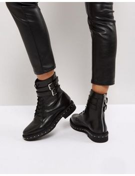 asos-alec-leather-studded-lace-up-boots by asos-collection