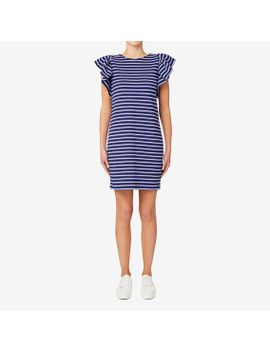 striped-frill-sleeve-dress by seed-heritage