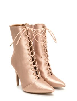 luxe-be-a-lady-pointy-lace-up-booties by gojane