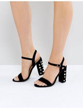 public-desire-fairview-black-suede-pearl-detail-heeled-sandals by public-desire