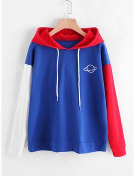 planet-print-color-block-hoodie by sheinside
