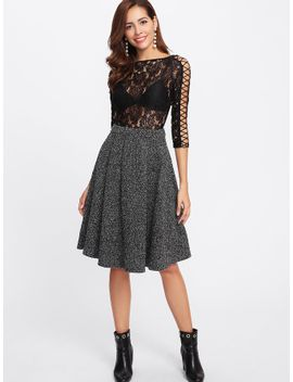 zip-back-flared-marled-knit-skirt by sheinside