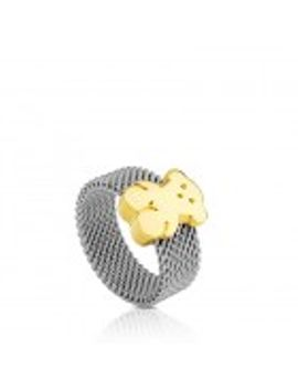 steel-and-gold-mesh-ring by tous