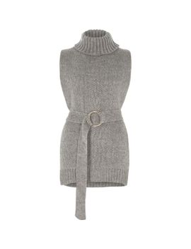 grey-roll-neck-sleeveless-open-side-knit-top by river-island