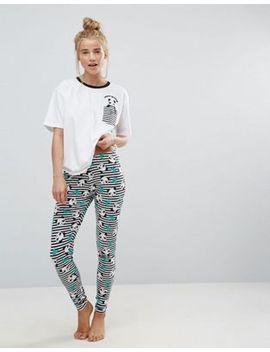 asos-panda-monium-legging-and-tee-pajama-set by asos-collection