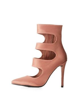 satin-cut-out-ankle-booties by charlotte-russe