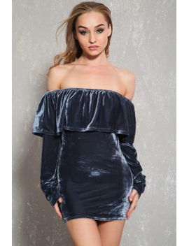 sexy-charcoal-velvet-ruffle-long-sleeve-top by ami-clubwear
