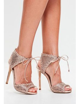 rose-gold-woven-ankle-tie-sandals by missguided