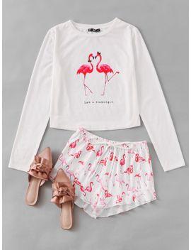 flamingo-print-tee-and-ruffle-shorts-pajama-set by shein