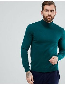 asos-muscle-fit-merino-roll-neck-sweater-in-bottle-green by asos