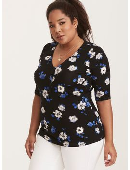 floral-print-button-front-fitted-tee by torrid