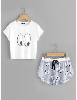 cartoon-eye-print-tee-and-shorts-pajama-set by shein