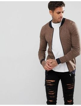 asos-knitted-muscle-fit-bomber-jacket-in-camel-twist by asos