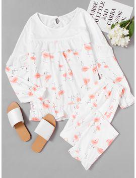 flamingo-print-ruffle-long-pajama-set by sheinside