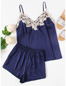 embroidered-applique-detail-satin-cami-&-shorts-pj-set by shein