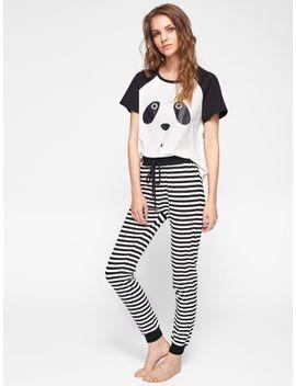 panda-print-top-and-striped-pants-pajama-set by shein