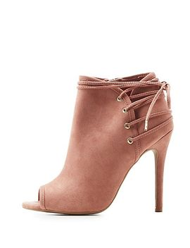 qupid-lace-up-back-peep-toe-booties by charlotte-russe