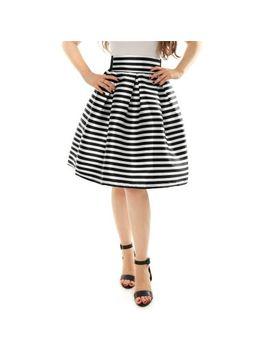unique-bargains-womens-striped-high-waist-pleated-a-line-midi-skirt by unique-bargains