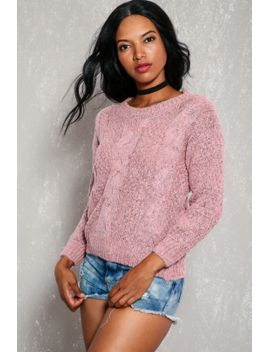 sexy-pink-long-sleeve-crochet-knitted-detailing-sweater by ami-clubwear