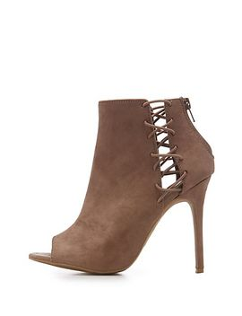 faux-suede-caged-peep-toe-booties by charlotte-russe