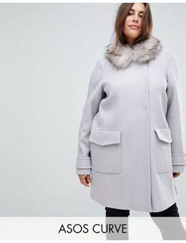 asos-curve-slim-coat-with-faux-fur-trim by asos-curve