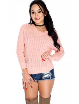 sexy-salmon-ribbed-off-the-shoulder-long-sleeve-sweater-top by ami-clubwear