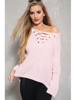 sexy-baby-pink-lace-up-flared-long-sleeve-knitted-pull-over-sweater by ami-clubwear