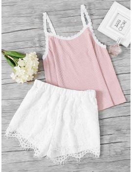 rib-knit-cami-&-lace-shorts-pj-set by shein