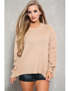 sexy-dusty-peach-lace-up-long-sleeve-casual-knit-sweater-top by ami-clubwear