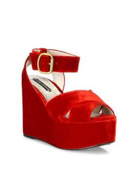 violet-velvet-platform-wedge-sandals by alice-+-olivia