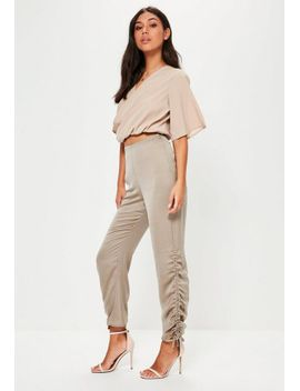 tall-gray-hammered-satin-ruched-pants by missguided