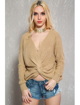 sexy-beige-twisted-accent-long-sleeve-oversize-knitted-sweater by ami-clubwear