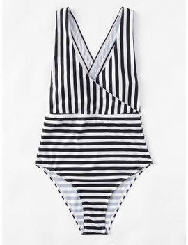 cross-back-striped-one-piece-swimsuit by sheinside