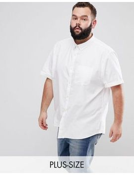 river-island-big-&-tall-short-sleeve-oxford-shirt-in-white by river-island