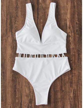 deep-v-neck-ladder-strap-swimsuit by sheinside