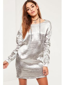 silver-gather-sleeve-satin-oversized-dress by missguided