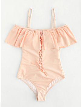 lace-up-design-cutout-back-flounce-swimsuit by sheinside