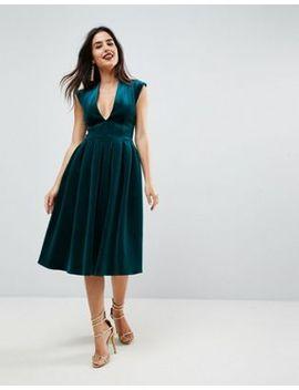 asos-deep-plunge-bonded-velvet-prom-midi-dress by asos-collection