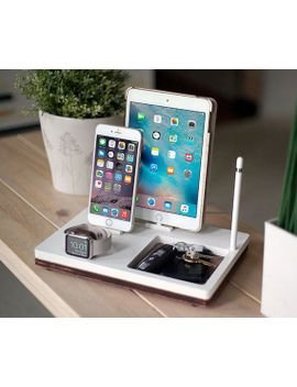 nytstnd-tray-3-white-charging-station-for-ipad,-iphone,-apple-watch-|-qi-wireless-|-apple-docking-stand-|-birthday-gift-|-home-decor by etsy