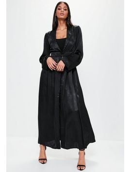 black-crushed-satin-waist-detail-duster-coat by missguided