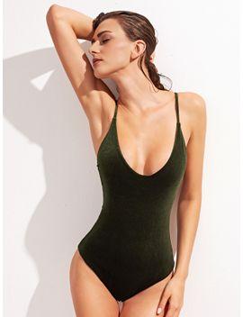 scoop-neck-cross-back-one-piece-velvet-swimsuit by sheinside
