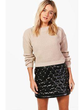 crop-waffle-knit-sweater by boohoo