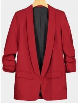faux-pocket-embellished-lapel-blazer---red-l by zaful