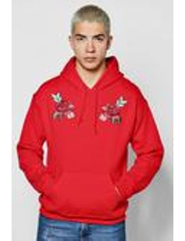 twin-rose-embroidered-hoodie by boohooman