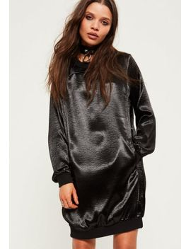black-satin-sweater-dress by missguided