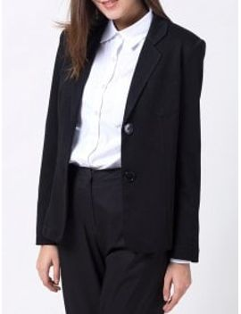 back-slit-lapel-collar-blazer---black-m by zaful