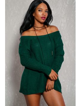 sexy-green-open-knit-long-sleeve-casual-sweater-dress by ami-clubwear