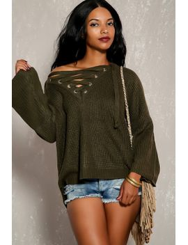 sexy-olive-lace-up-flared-long-sleeve-knitted-pull-over-sweater by ami-clubwear