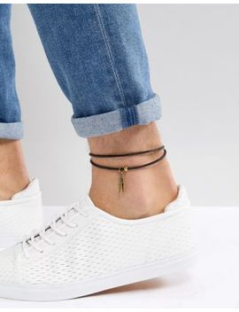 asos-leather-anklet-with-feather by asos-design
